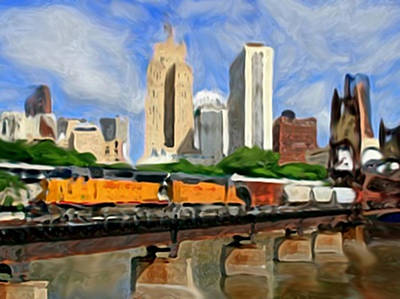 Rail Road Mixed Media - Twin Cities Train by Dennis Buckman