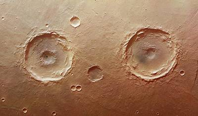 Twin Craters Art Print by Dlr/fu Berlin (g. Neukum)/european Space Agency