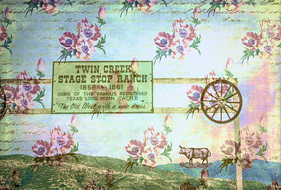 Photograph - Twin Creek Stage Stop Ranch Collage by Karen Stephenson
