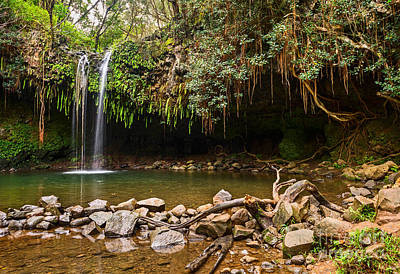 Photograph - Twin Falls - The Beautiful And Magical Falls Along The Road To Hana In Maui by Jamie Pham