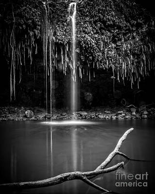Twin Falls Hana Highway Maui Hawaii Black And White Art Print by Edward Fielding