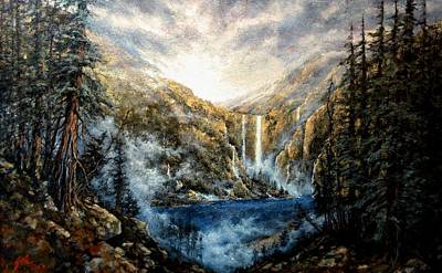 Wall Art - Painting - Twin Falls by Jim Gola
