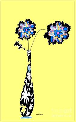 Mixed Media - Twin Flower by Ann Calvo