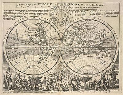 Twin-hemisphere World Map Print by British Library
