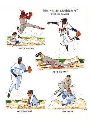 Baseball Fields Drawing - Twin-killing Choreography by Michael Crawford