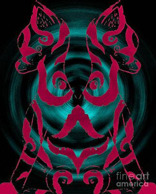 Digital Art - Twin Kitten Pink-blue by Josephine Ring