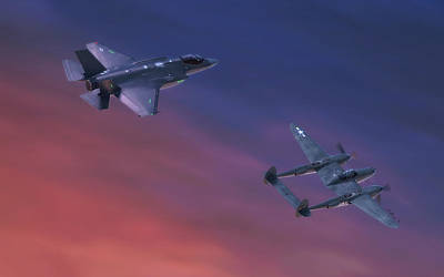 Joint Strike Fighter Painting - Twin Lightnings by Hangar B Productions