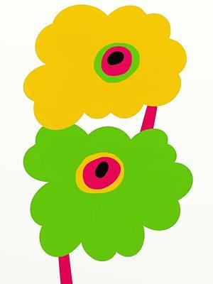 Fuschia Mixed Media - Twin Mod Flowers Two by Marlene Kaltschmitt