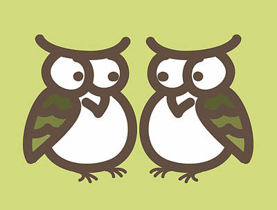 Twin Owl Babies- Nursery Wall Art Art Print by Nursery Art