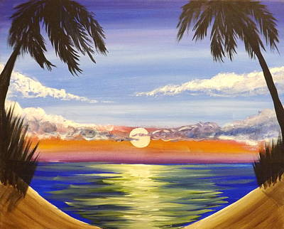 Sunset Painting - Twin Palms by Darren Robinson