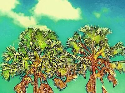 Digital Art - Twin Palms With Aqua Sky - Horizontal by Lyn Voytershark