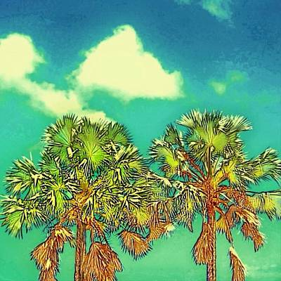 Painting - Twin Palms With Aqua Sky - Square by Lyn Voytershark