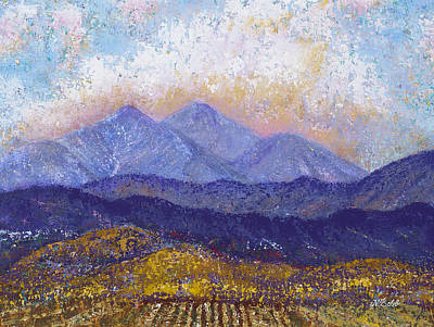 Art Print featuring the painting Twin Peaks Above The Fruited Plain by Margaret Bobb