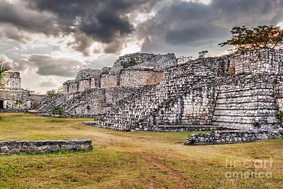 Photograph - Twin Pyramids Ek Balam by Jo Ann Snover