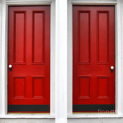 Traditional Doors Photograph - Twin Red Doors by Olivier Le Queinec