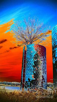 Art Print featuring the photograph Twin Silos by Karen Newell