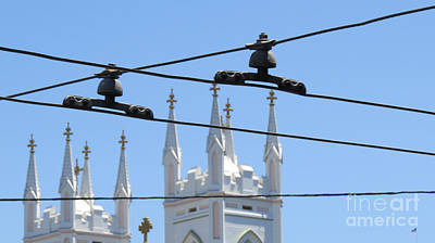 Tour Bus San Francisco Photograph - Twin Spires And Trolley Lines by Mary Mikawoz