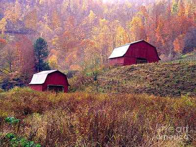 Twin Tobacco Barns Art Print