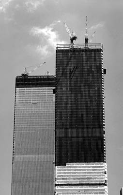 Photograph - Twin Towers Construction by John Schneider
