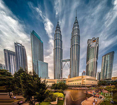 Evening Digital Art - Twin Towers Kl by Adrian Evans