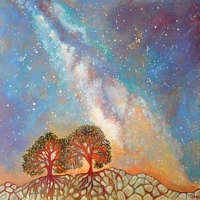 Twin Trees And The Milky Way Art Print by Cedar Lee