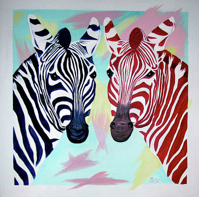 Art Print featuring the painting Twin Zs by Phyllis Kaltenbach