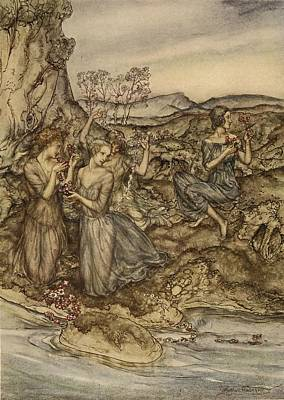 Twining Wreaths Of Flowers Art Print by Arthur Rackham