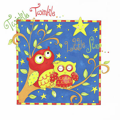 Nursery Rhyme Painting - Twinkle Twinkle Little Star by P.s. Art Studios
