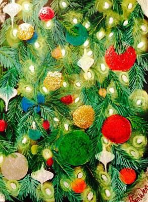 Twinkling Christmas Tree Art Print