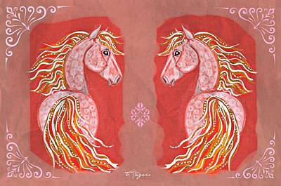 Twins In Red Art Print