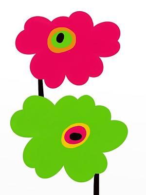 Fuschia Mixed Media - Twins Mod Flowers by Marlene Kaltschmitt