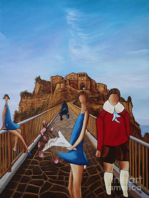 Painting - Twins On Bridge by William Cain
