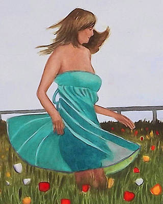 Painting - Twirling In A Green Dress by Cory Clifford