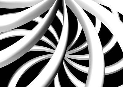 Digital Art - Twisted Bw by Louis Ferreira