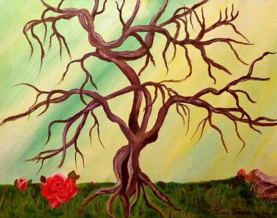 Twisted Tree And Roses Art Print by Janis  Tafoya