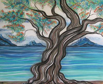 Blue Drawing - Twisted Tree by Joan Stratton