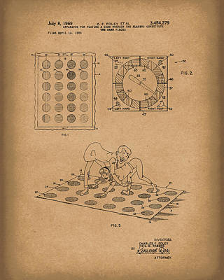 Drawing - Twisting Game 1969 Patent Art Brown by Prior Art Design