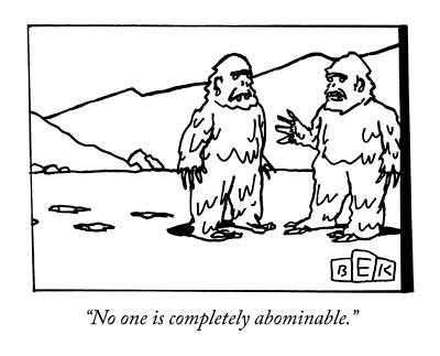 Winter Drawing - Two Abominable Snowmen Talk To Each Other by Bruce Eric Kaplan