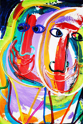 Two Abstract Faces Art Print by Matthew Brzostoski