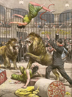 Two Acrobats Fall Into The  Lions' Art Print by Mary Evans Picture Library