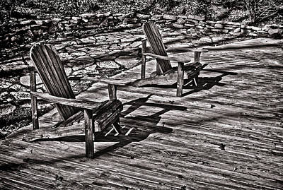 Art Print featuring the photograph Two Adirondack Chairs In B/w by Greg Jackson