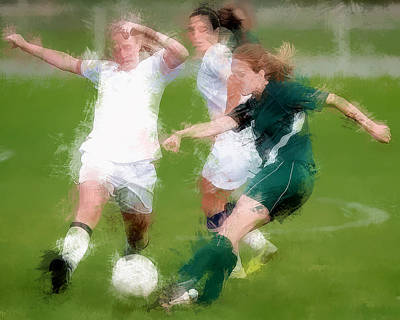 Women Soccer Painting - Two Against One Expressionist Soccer Battle  by Elaine Plesser