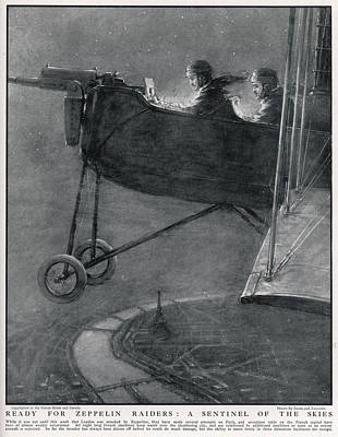 Eiffel Tower Drawing - Two Airmen In A Biplane On Night Patrol by Mary Evans Picture Library