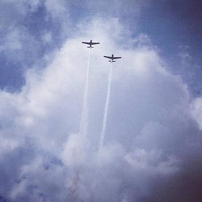 Sky Wall Art - Photograph - Two Airplanes Flying by Christy Beckwith