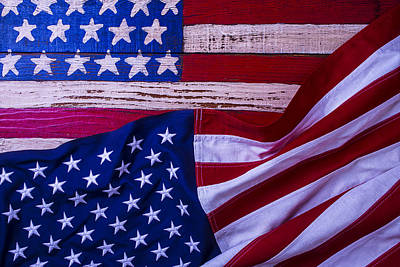 Two American Flags Art Print by Garry Gay