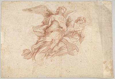 Damian Drawing - Two Angels Flying Verso God The Father by Cosmas Damian Asam