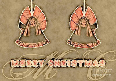 Christmas Cards Digital Art - Two Angels Vintage - Merry Christmas Card by Aimelle