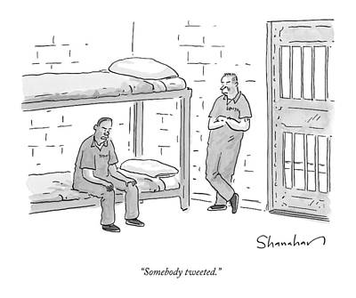 Social Media Drawing - Two Angry Inmates Speak In Their Cell by Danny Shanahan