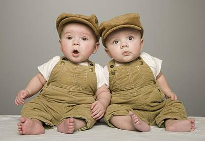 Two Babies In Matching Hat And Overalls Art Print by Kelly Redinger