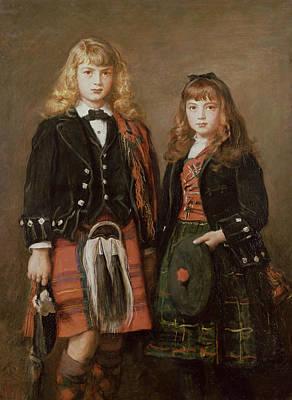 Tartan Photograph - Two Bairns Oil On Canvas by Sir John Everett Millais